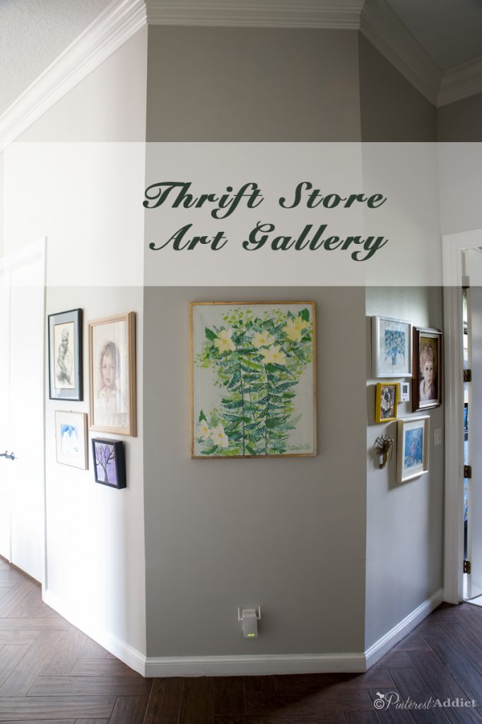 Thrift store art gallery in the hallway - this is just the beginning...