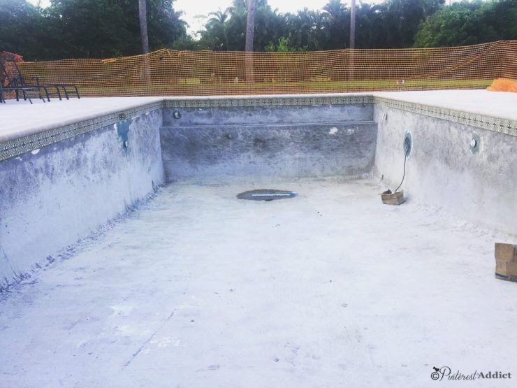 What to expect when building a pool - pool scraped and cleaned. Waterproofed around openings.