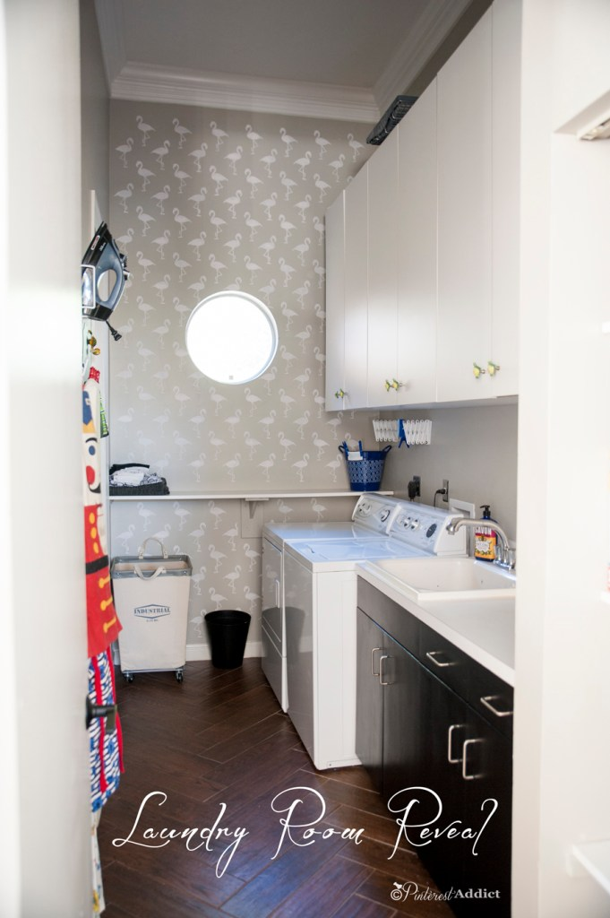 $100 Room Challenge Laundry Room Reveal - Flamingo stencil