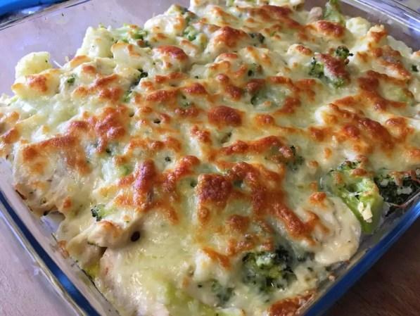 gratinado, lasanha, frango, couve flor, brocolos, queijo, natas, bechamel, pasta