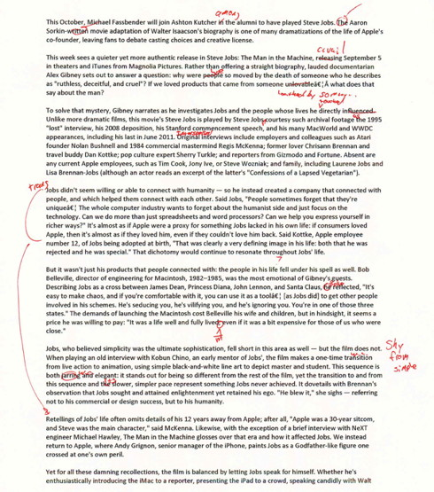 Draft of Steve Jobs documentary review