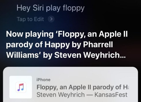 "Siri playing a song in response to being asked to ""play floppy"""