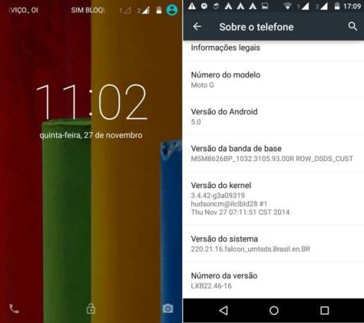 android 5.0 lollipop para moto g