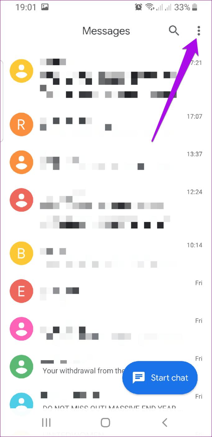 Menu de mensagens do Android Rcs