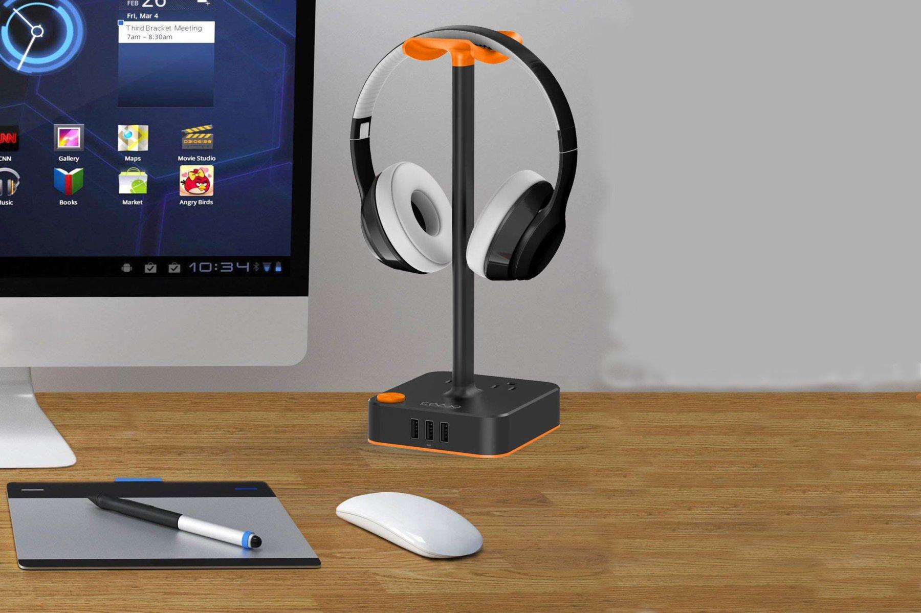 Suporte para fone de ouvido Cozoo com 5 carregadores USB