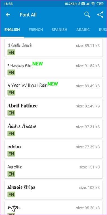Aplicativos de fontes para Android 9