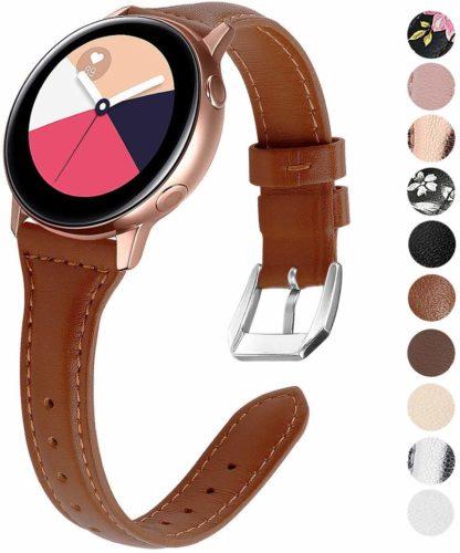 pulseira de couro ezco para samsung galaxy watch active