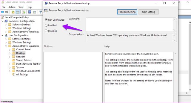 Corrigir a lixeira está acinzentada no Windows 10 16
