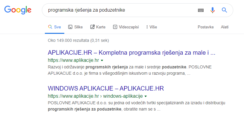 SEO optimizacija rezultati
