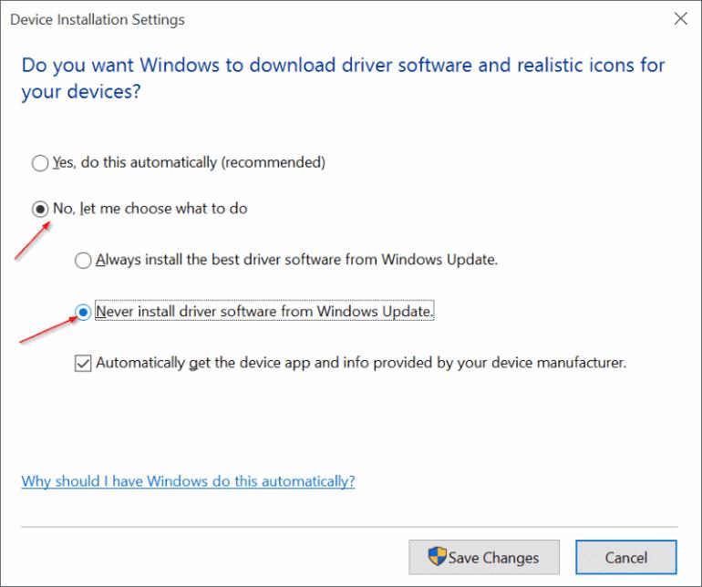 Désactiver la mise à jour du pilote Windows 10