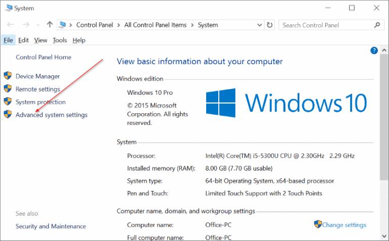 Ouvre les paramètres système avancés pour Windows 10
