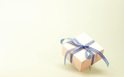 Present wrapped in blue ribbon - major gift giving for organizations