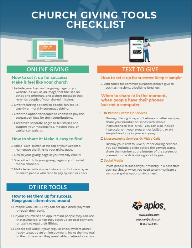 Church Giving Tools Checklist