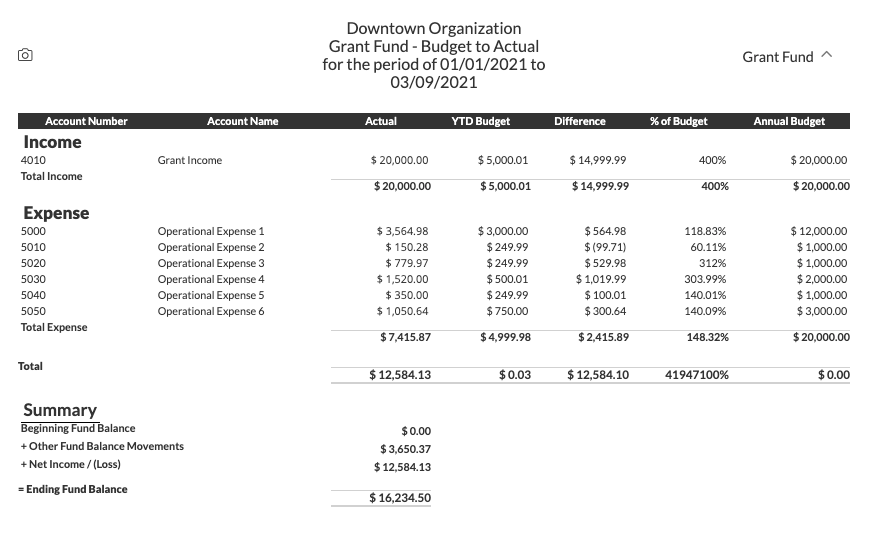 Example of grant fund budget to actual