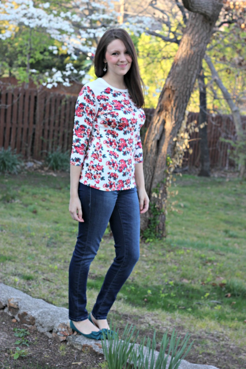 Basil Quilted Shoulder Knit Top Loveappella - Stitch Fix Review #12 by Missouri style blogger A + Life