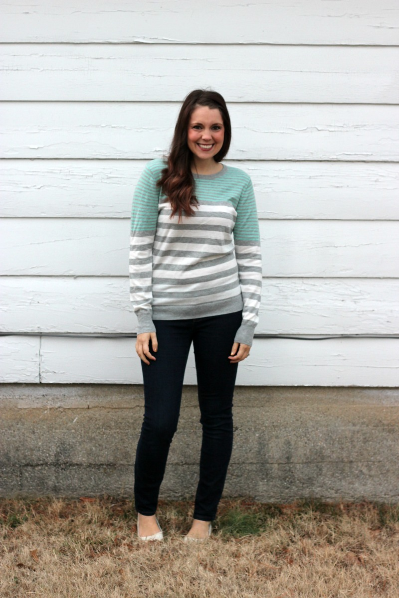 41Hawthorn Liss Button Back Striped Pullover