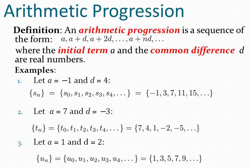Sum Of The First N Terms Of An Arithmetic Progression