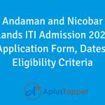 Andaman and Nicobar Islands ITI Admission