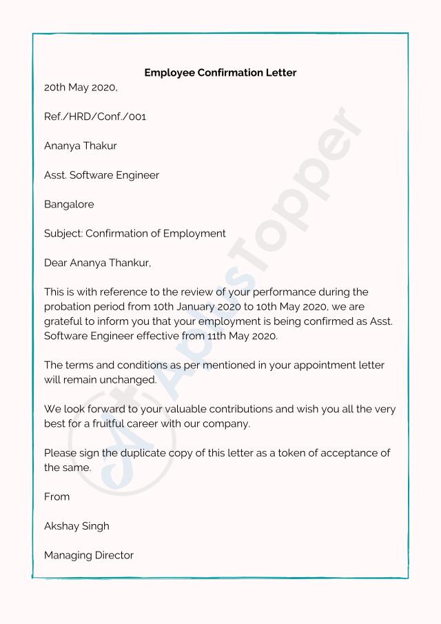 Confirmation Letter  Letter of Confirmation Format, Samples