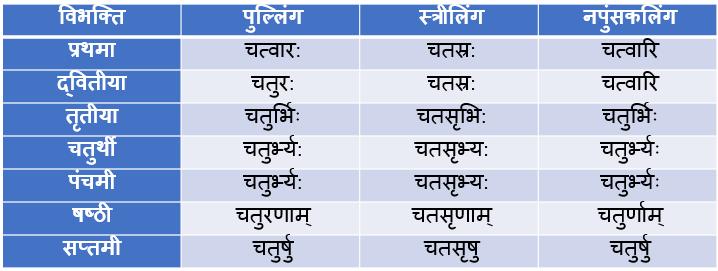 Chatvari/Char Ke Shabd Roop In Sanskrit