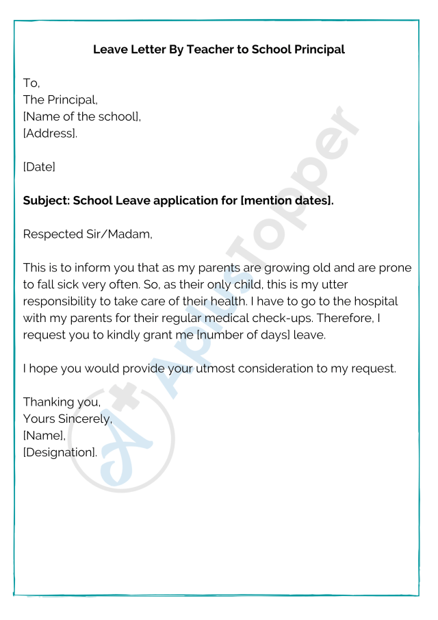 Leave Letter for School  How to Write a Leave Application for
