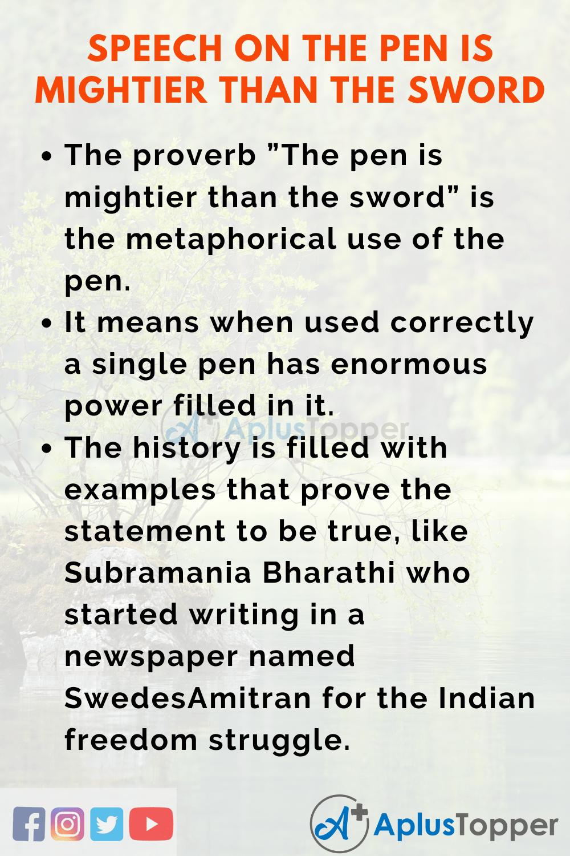 The Pen is Mightier Than The Sword Speech