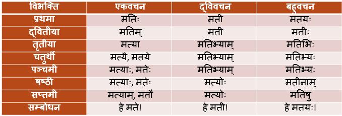 Mati Shabd Roop In Sanskrit