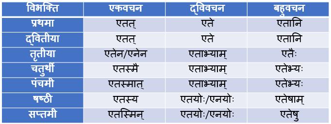 Etad/Etat Napunsak Ling Shabd Roop In Sanskrit