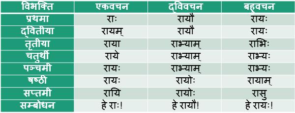Ray Shabd Roop In Sanskrit