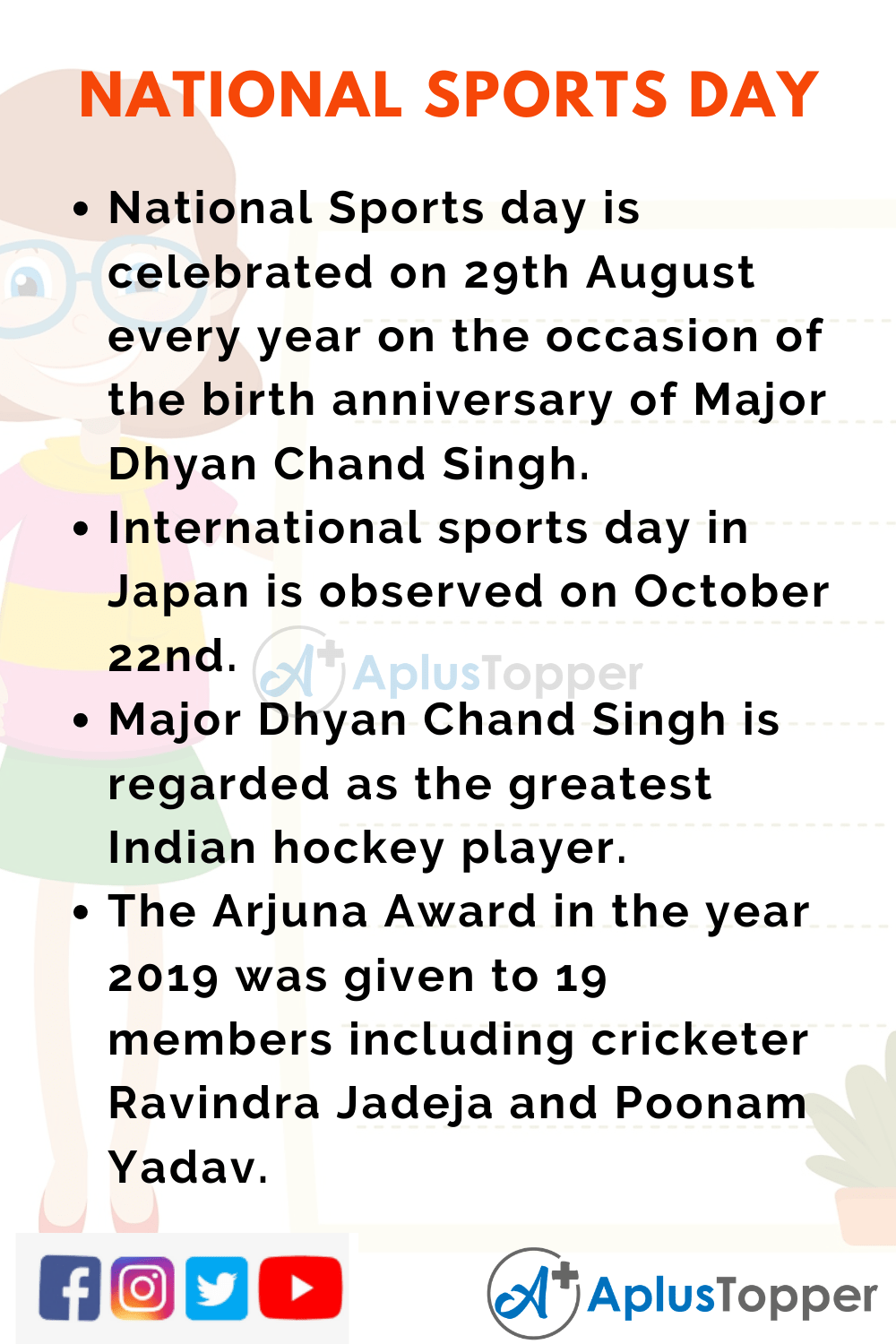 10 Lines On National Sports Day For Students And Children In English A Plus Topper