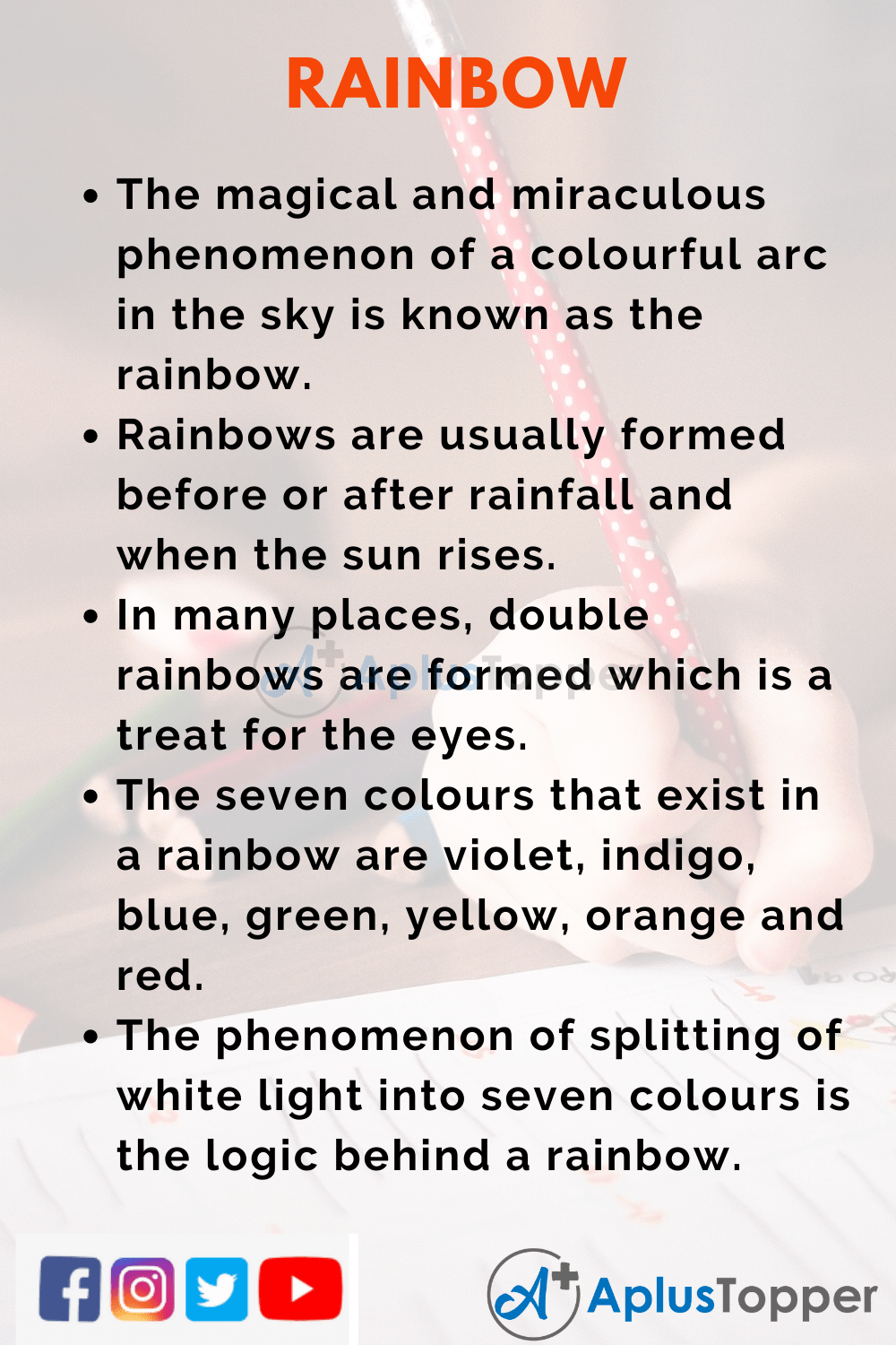 10 Lines on Rainbow for Kids