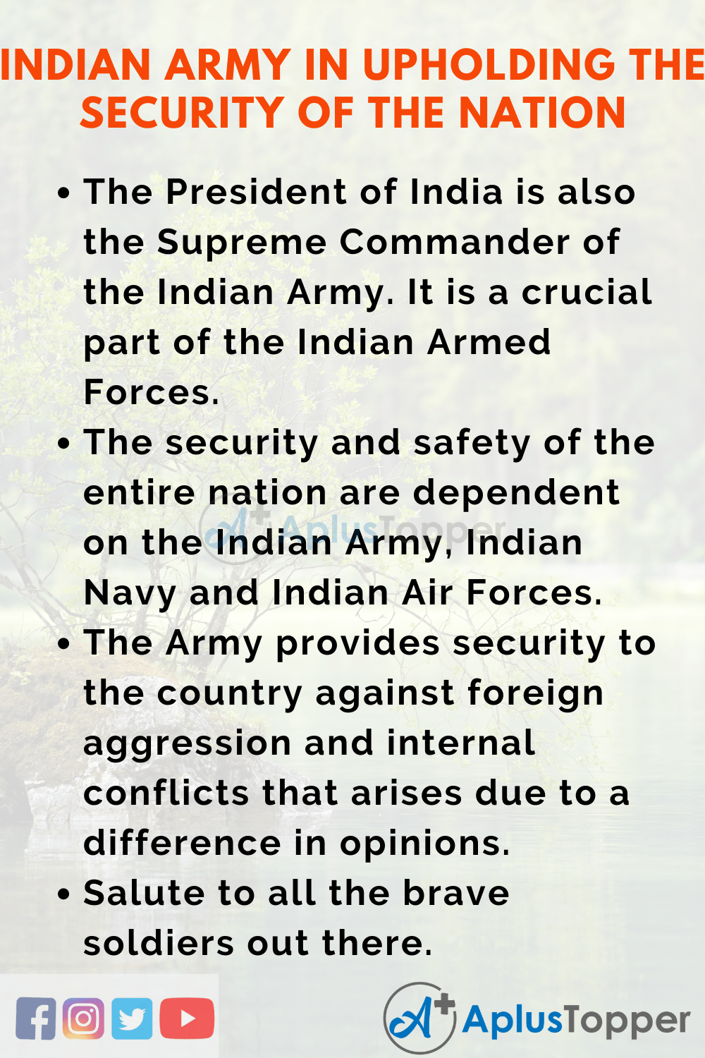 10 Lines On Speech On Indian Army In Upholding The Security Of The Nation In English