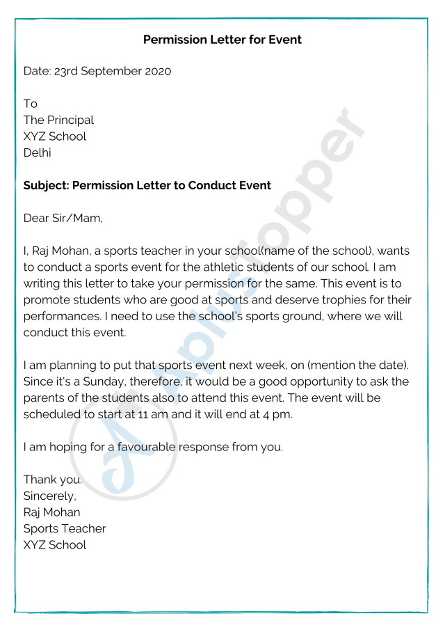 Permission Letter  Format, Samples, Templates, How to Write A