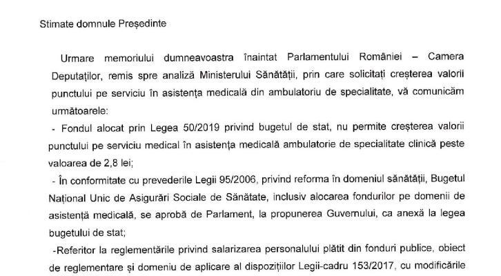 Răspunsul Ministerului Sănătății referitor la Memoriul APMA