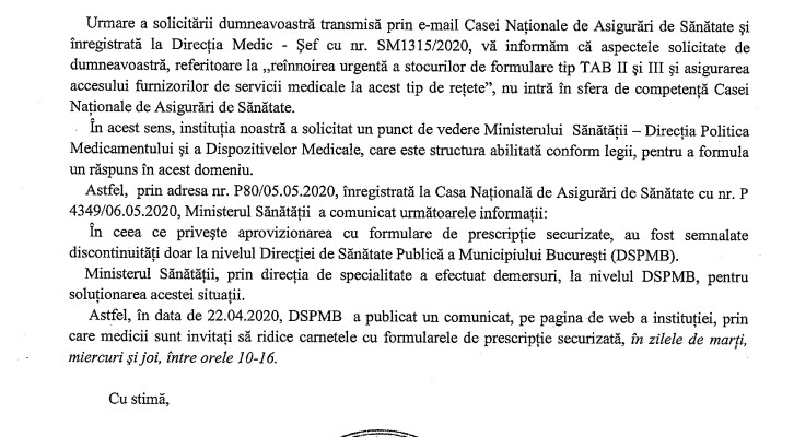 Răspuns CNAS privind formularele de tip TAB II și III
