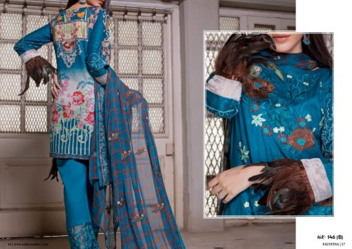 Faustina Embroidered Lawn Collection 2018 146B