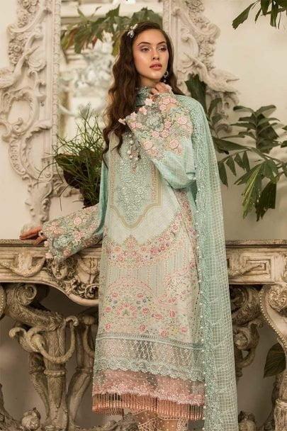 MARIA B Unstitched Eid Lawn 2019 D-604-Light Ferozi