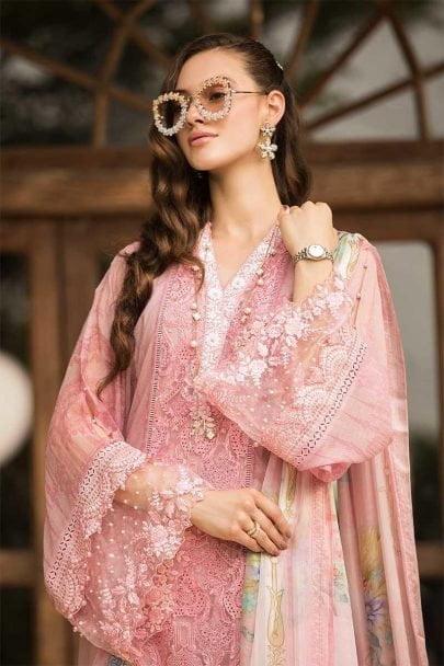 MARIA B Unstitched Eid Lawn 2019 D-606-Pink