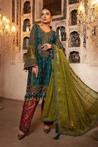 MARIA B Unstitched MBROIDERED – Teal, Green & Deep Ruby (BD-1706)