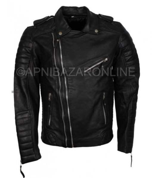 Mens Black Double Zipper Italian  Biker Style Genuine Leather Jacket DMLJ-15