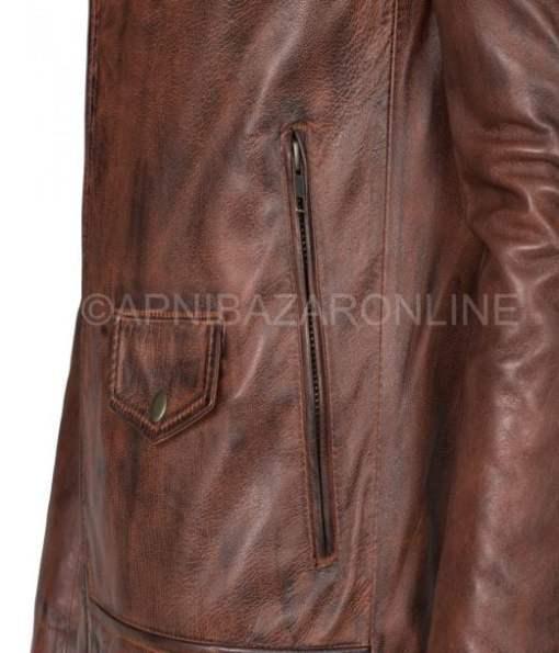 Brando Men's Biker Style Brown Vintage Genuine Leather Jacket DMLJ-18