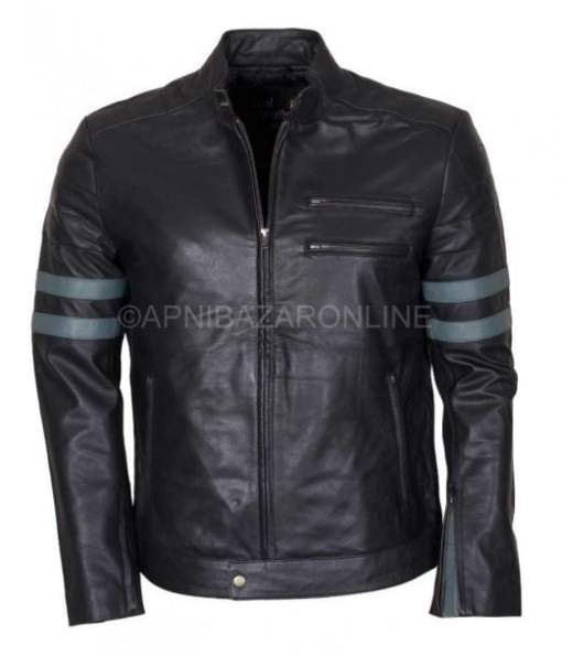Mens Grey Stripes Black Real Leather Jacket DMLJ-26