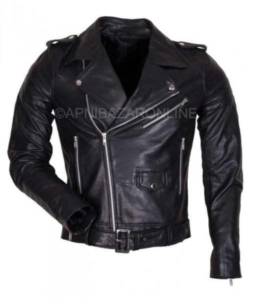 Mens Biker Style Genuine Black Leather Jacket DMLJ-32