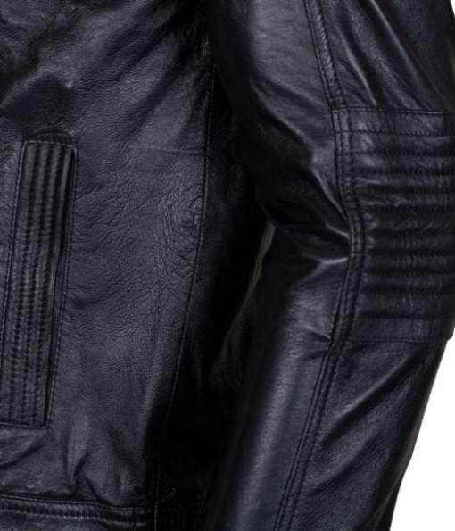 New Mens Detachable Hood  AJ Biker Style Black Genuine Leather Jacket DMLJ-44