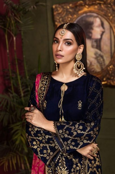 Tehzeeb by Mohagni Embroidered Velvet Collection 2020 Unstitched 3 pcs Luxury Suit TMEV19-02