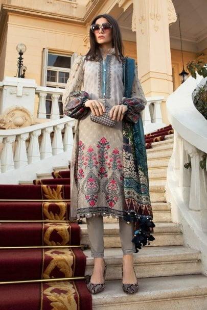 Maria B Luxury Lawn Unstitched 3 Piece Suit MBL20-2007B Lawn Collection