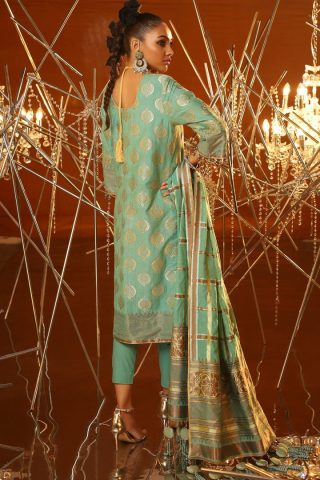 Al Karam Embroidered Jacquard Unstitched 3 Piece Suit AKF20-01A FEROZI – Festive Collection