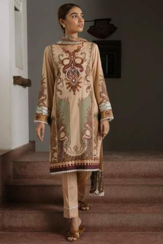 Qalamkar Qline Luxury Lawn Unstitched 3 Piece Suit QQL20-05 – Lawn Collection