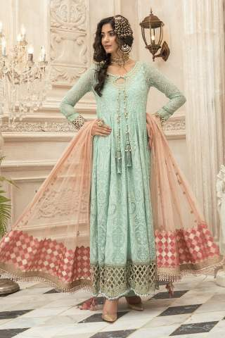 Maria B Embroidered Chiffon Unstitched 3 Piece Suit Sea Green MBMD20-1908 – Luxury Collection