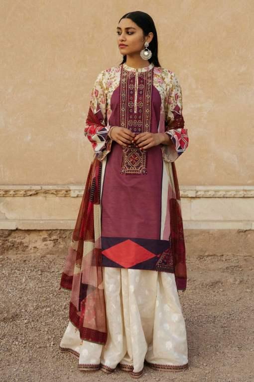 Zara Shahjahan Luxury Embroidered Lawn Unstitched 3 Piece Suit ZSL20 SHABNAM-B – Summer Collection
